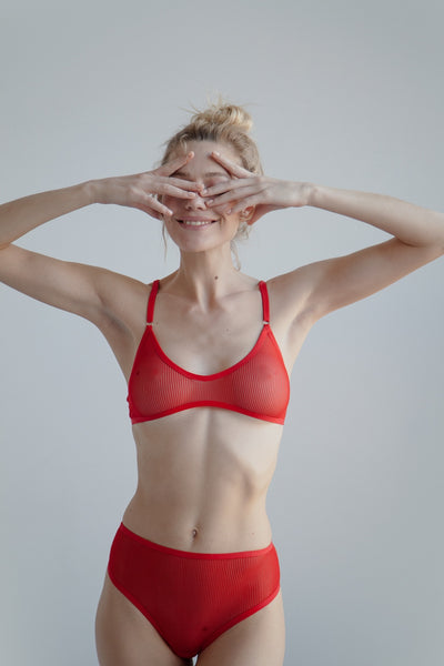 Red sheer striped mesh bralette