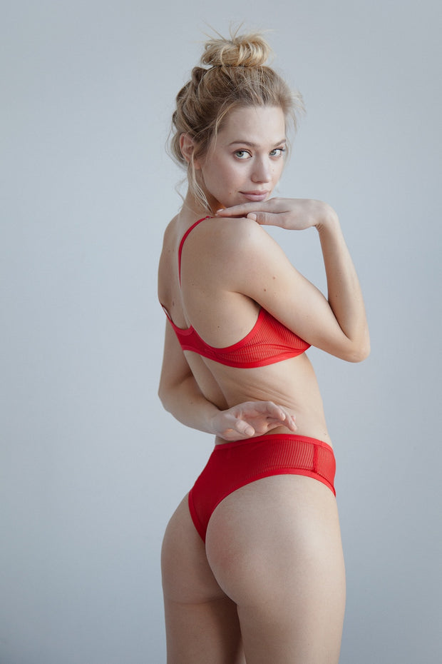 Red sheer striped mesh high waisted thong