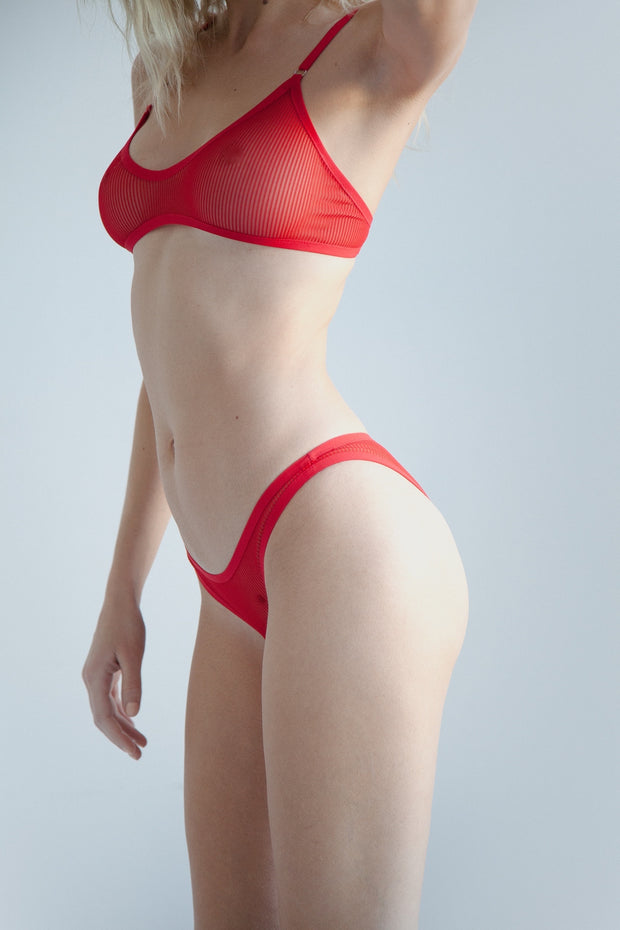 Red sheer striped mesh bikini brief