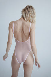 Pink sheer mesh bodysuit scoop open back square neck
