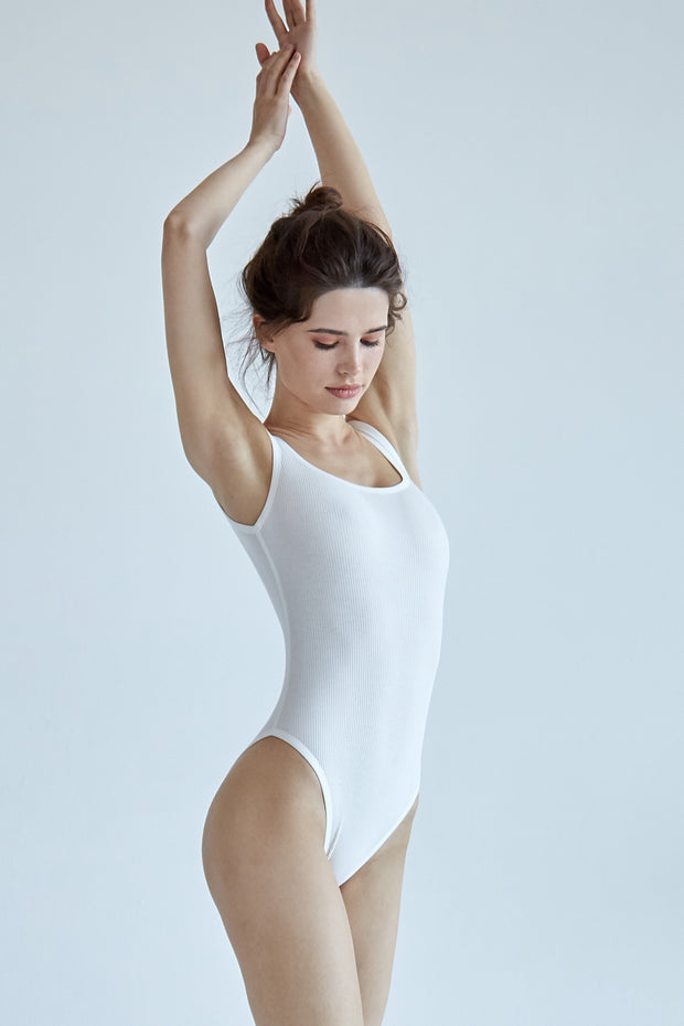 White ribbed cotton bodysuit scoop open back
