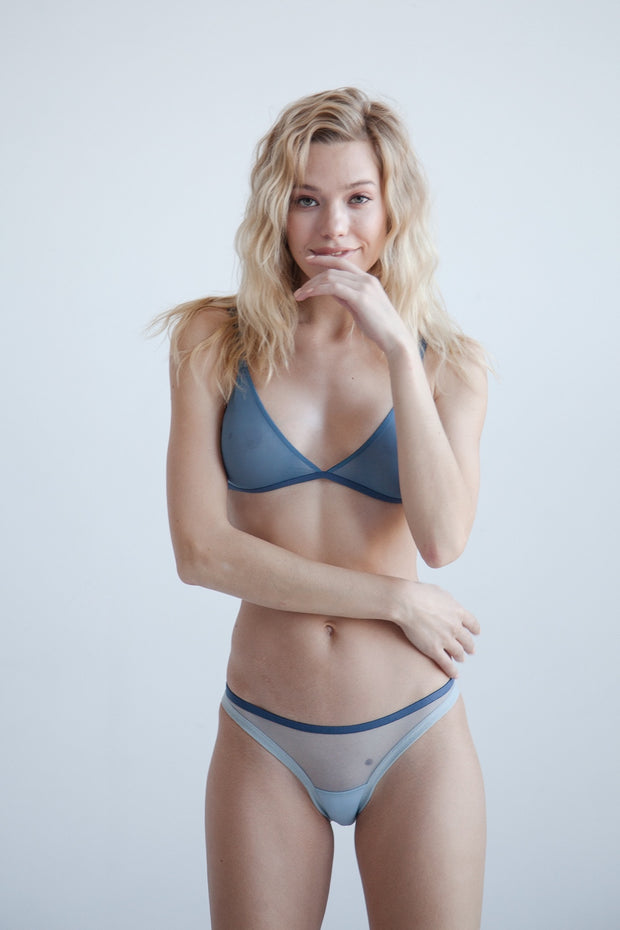 Blue sheer mesh bikini brief