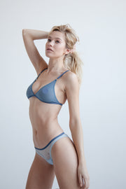 Azure mesh triangle bralette with adjustable straps and rear fastening