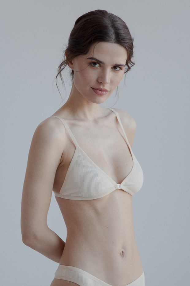 Nude cotton triangle bralette with adjustable straps rear fastening