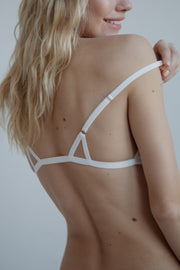 White cotton triangle bralette with adjustable straps rear fastening