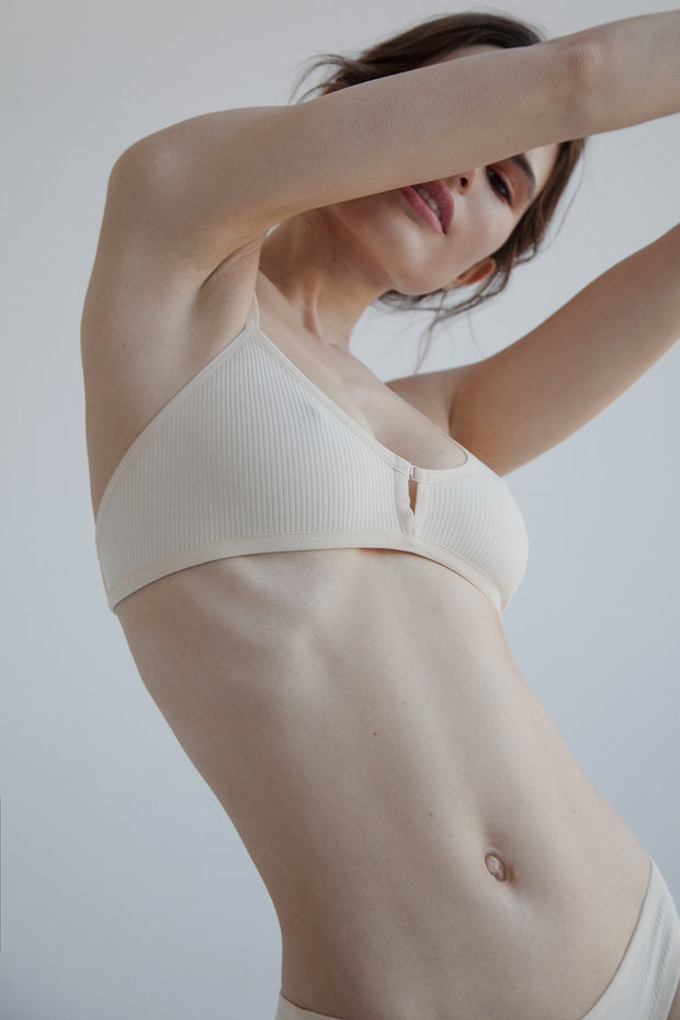 Nude ribbed cotton bralette with decorative front fastening