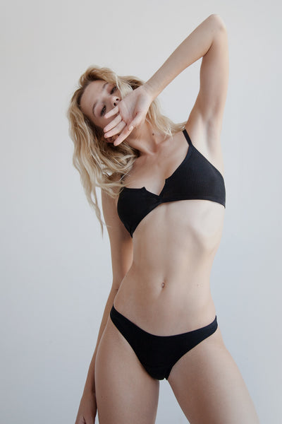 Black ribbed cotton bikini brief