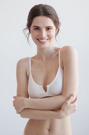 White ribbed cotton bralette with decorative front fastening