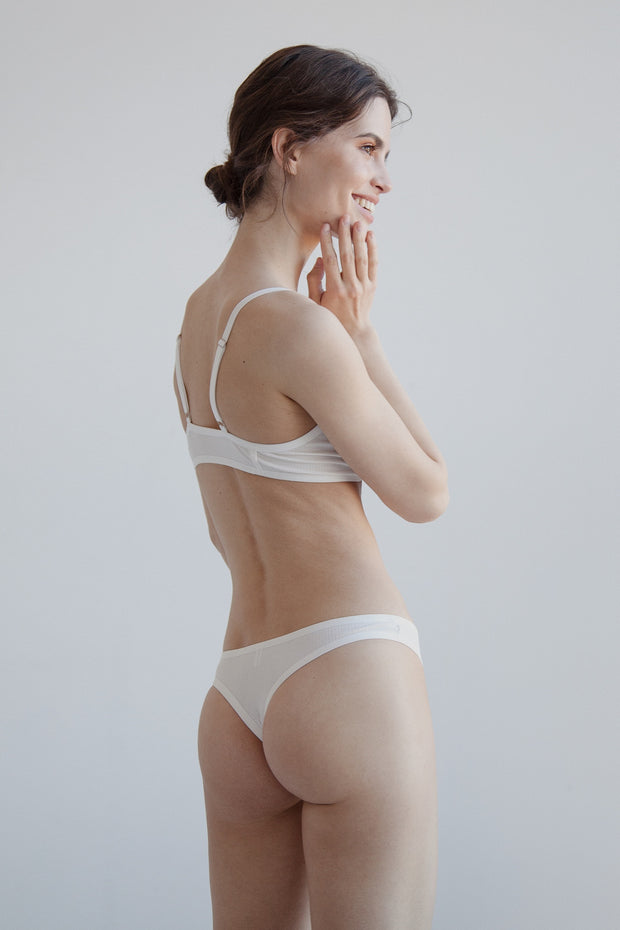 White ribbed cotton thong