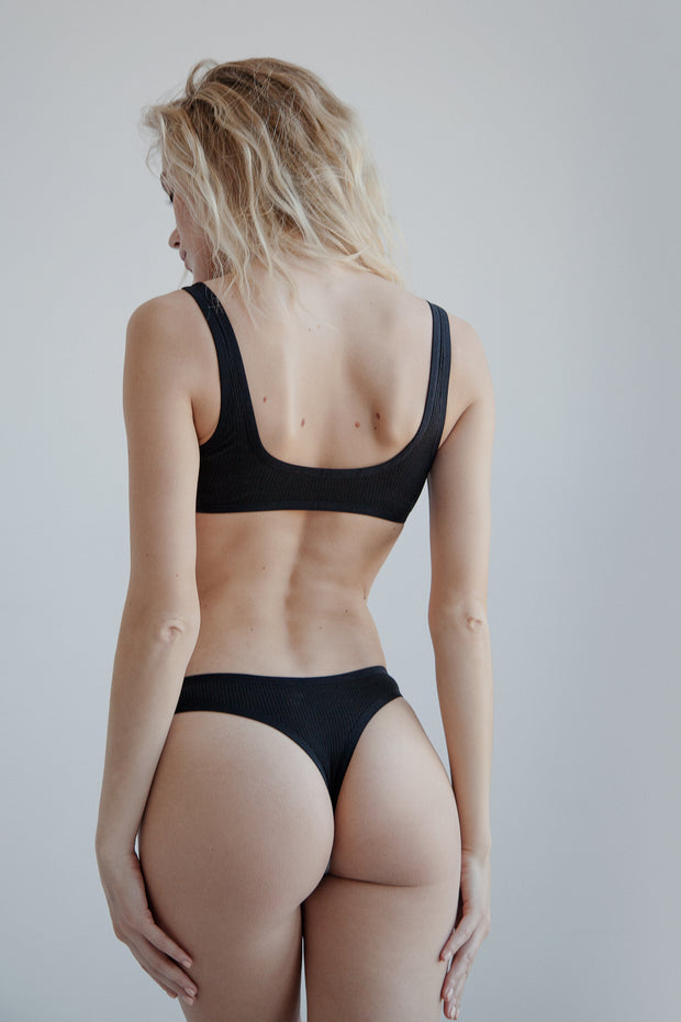 Black ribbed cotton thong