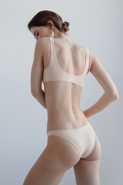 Briefs / ribbed cotton / nude