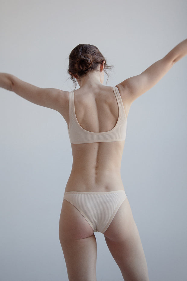 Nude ribbed cotton sport bralette bra