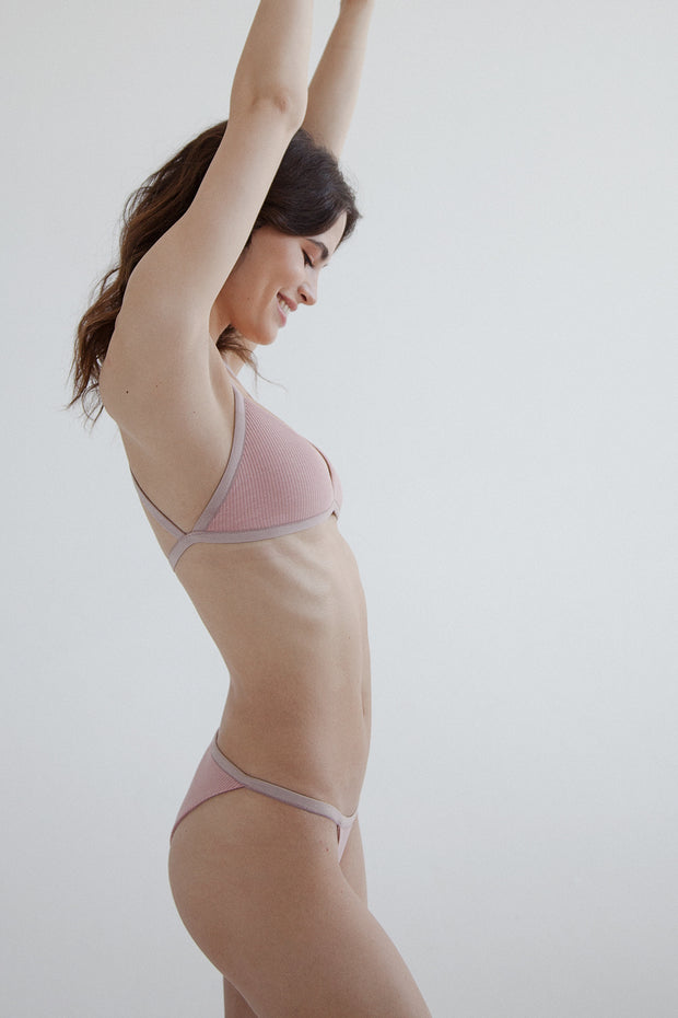 Blush ribbed cotton tango brief