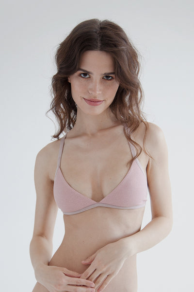 Blush cotton triangle bralette with back cross straps rear fastening