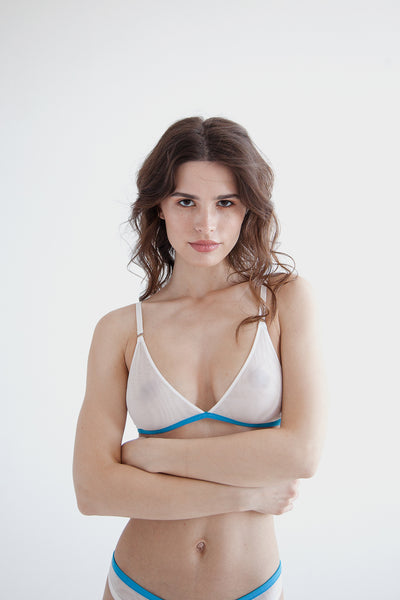 White mesh triangle bralette with adjustable straps and rear fastening