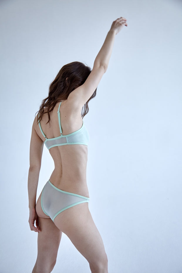 Mint sheer mesh bikini brief