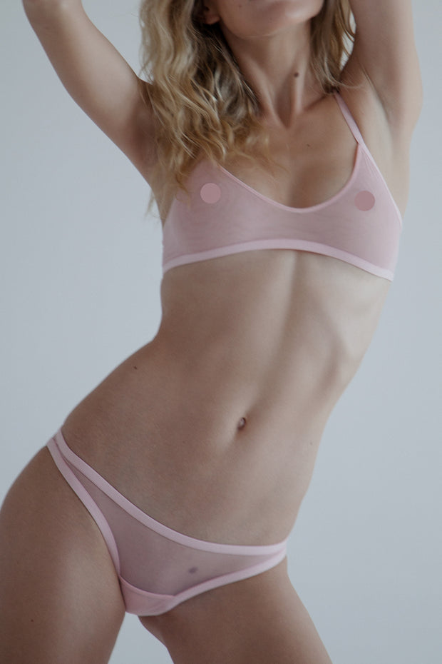 Pink sheer dual layer mesh bralette