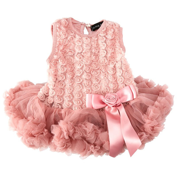 OLIVIA ROSE DUSTY PINK ROSETTE PETTIDRESS