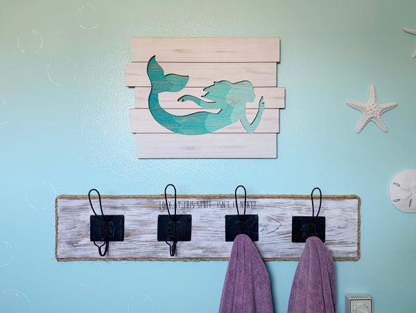 mermaid towel holder
