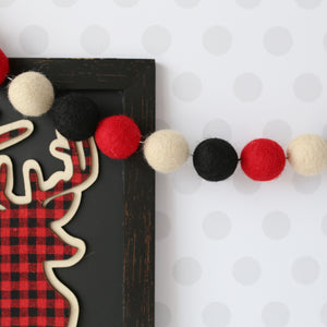 Buffalo plaid felt ball garland for Christmas