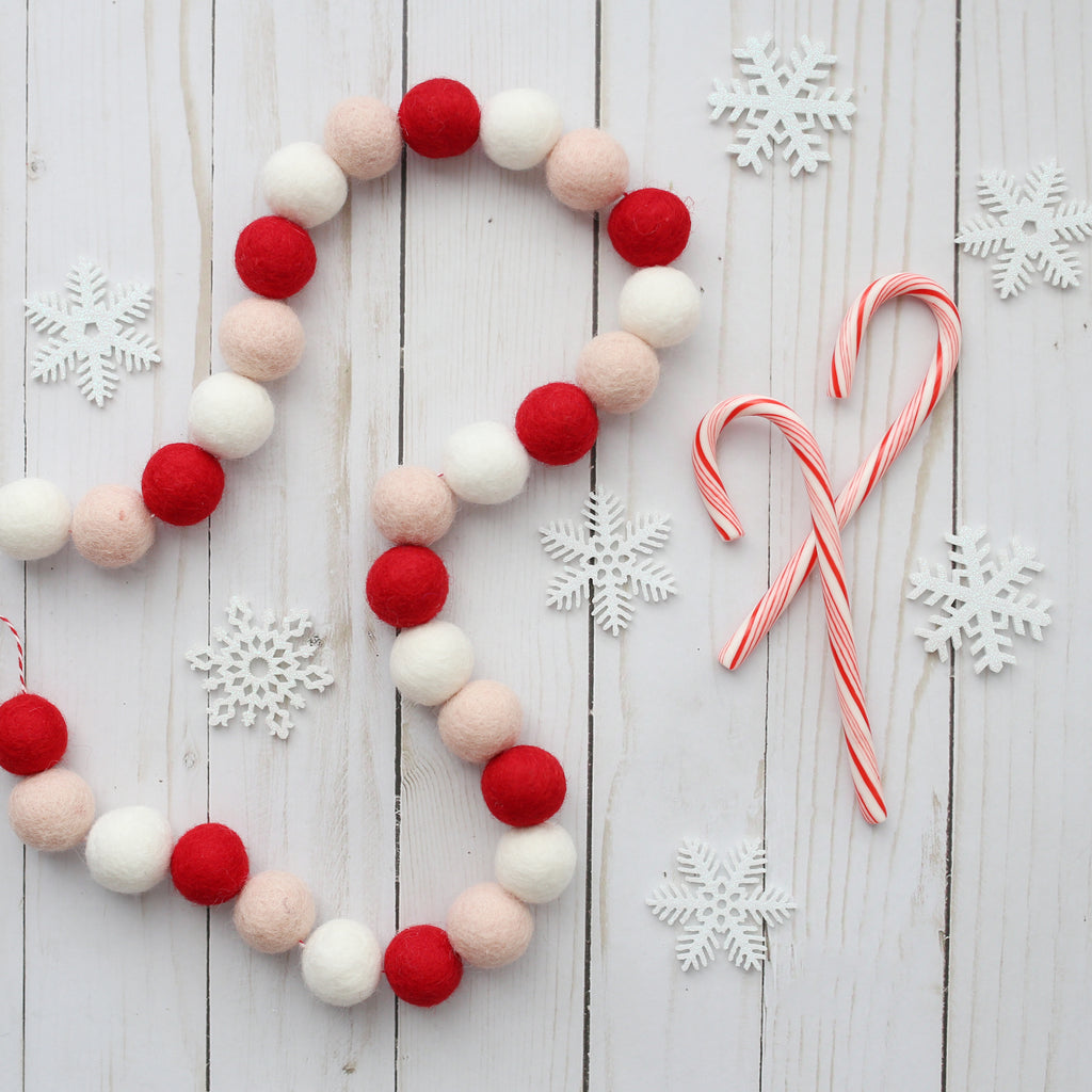 Christmas felt ball garland red white and blush