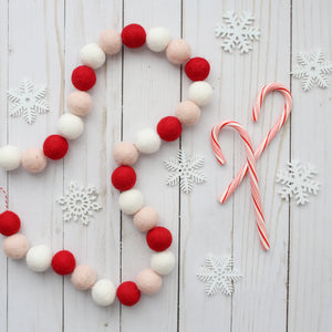 Christmas Ball Garland.Crushed Candy Cane Felt Ball Garland