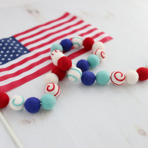 Fourth of July Felt Ball garland - Firework