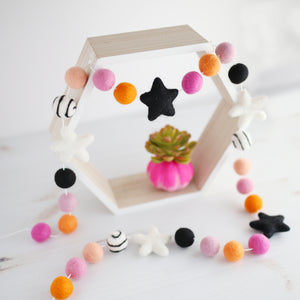 pink and orange halloween felt ball garland