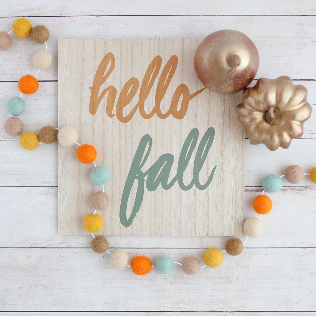 Hello Fall felt ball garland