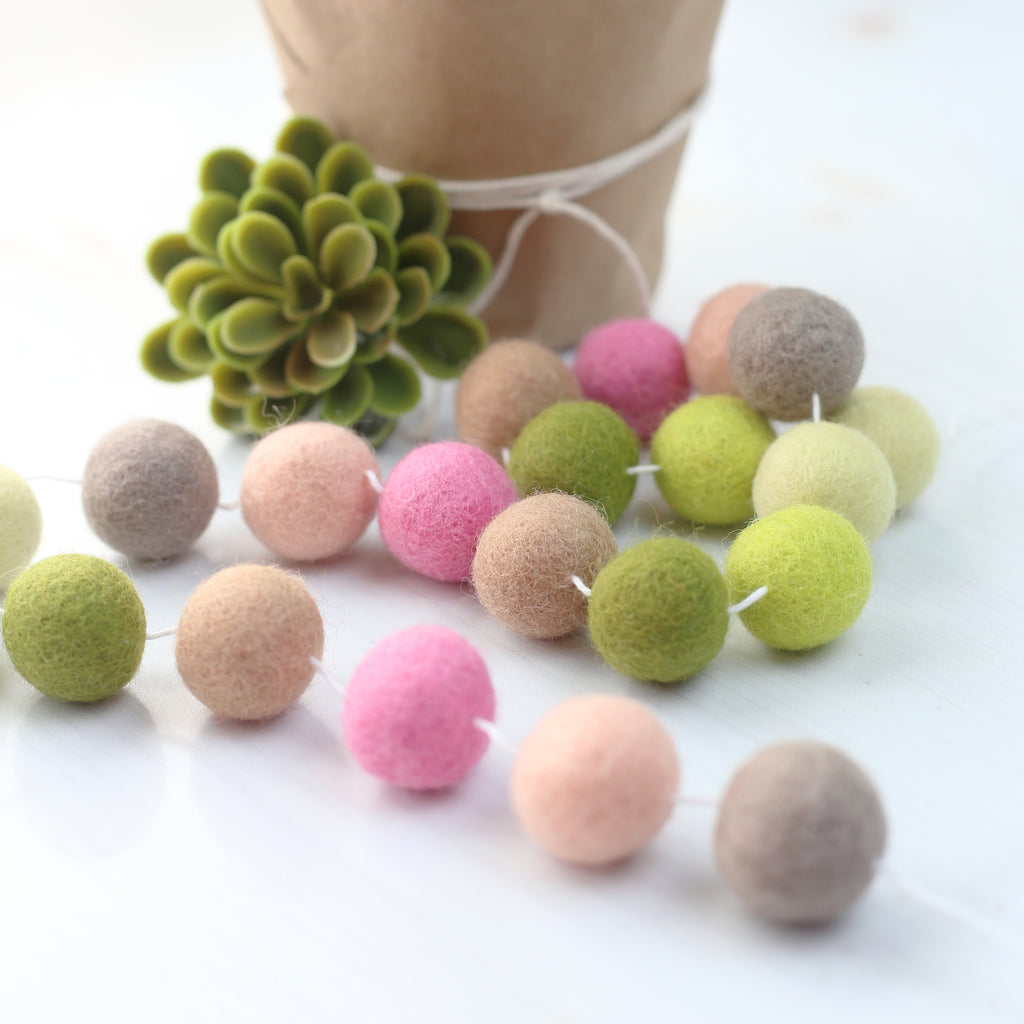 Spring Succulents Felt Ball Garland
