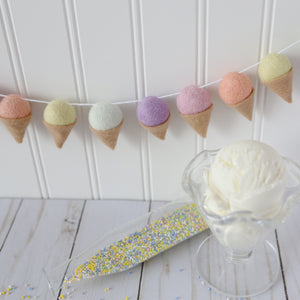Soft Sorbet Ice Cream Felt Ball Garland