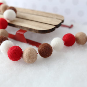 Christmas felt ball garland in red white and brown