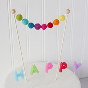 Rainbow Felt Ball Cake Topper