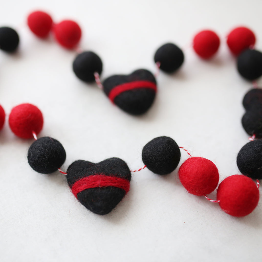 Thin Red Felt Ball Garland