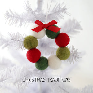 Felt Ball Mini Wreath Ornaments