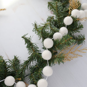 White Felt Ball Garland