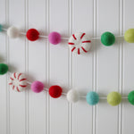 Felt peppermint Whoville felt ball garland