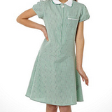 Zip-Front Gingham Check Dress - Bottle Green