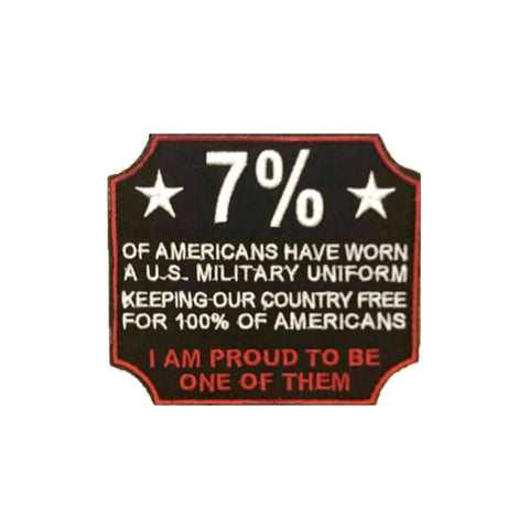 "3"" wide diameter embroidered velcro patch Proud to be one of the 7% logo."