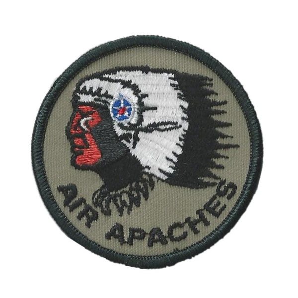 "3"" diameter embroidered patch with Air Apaches logo."