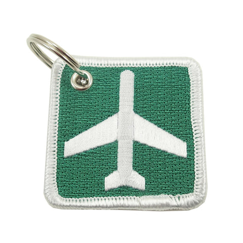 Square Airport Ahead Sign Keychain