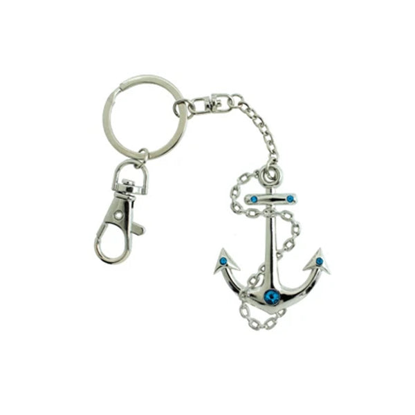 Anchor keychain with blue crystals