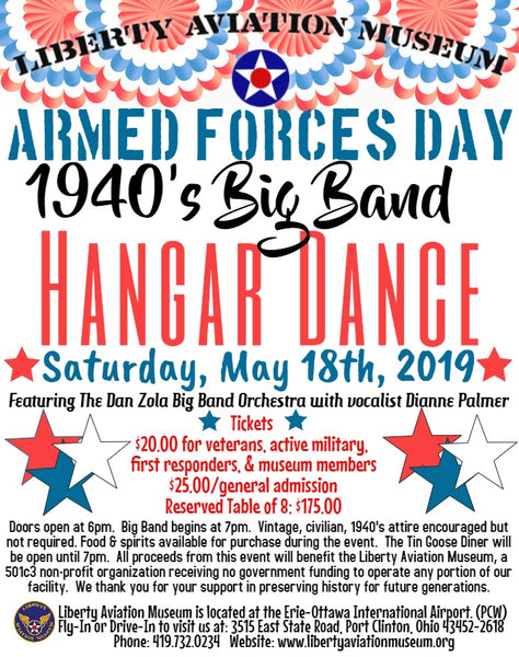 Armed Forces Day 1940's WWII era Big Band Hangar Dance May 18th Admission Tickets