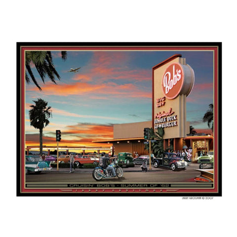 """Cruisin Bob's-Summer of '62"" 19 X 25 print by Larry Grossman"