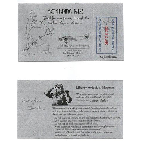 "iberty Aviation Museum gift admission ""boarding pass"" ticket"