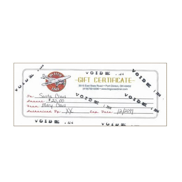 $20 Tin Goose Diner Gift Certificate