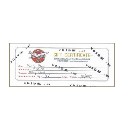 $30.00 Tin Goose Diner Gift Certificate