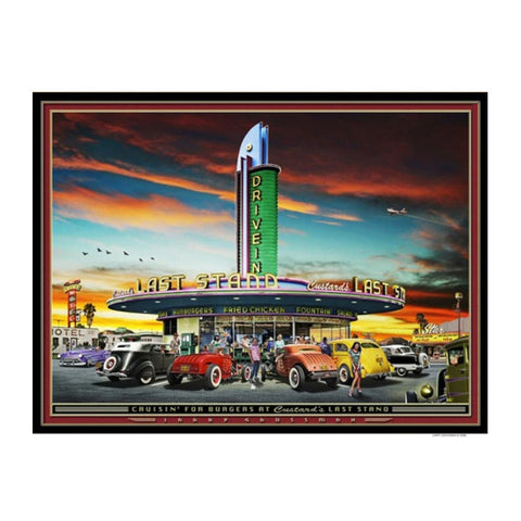 """Cruisin' for Burgers at Custard's Last Stand"" 19 X 25 print by Larry Grossman"