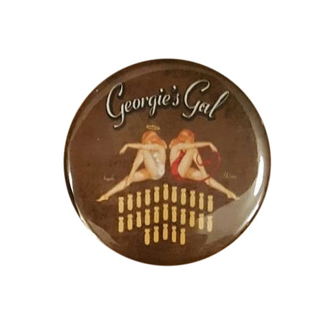 "B-25 ""Georgie's Gal"" Bombs Nose Art Button Pin"