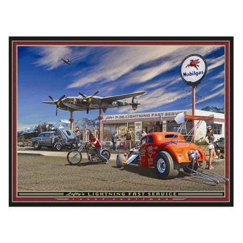 """Lefty's Lightning Fast Service"" 19 X 25 print by Larry Grossman"
